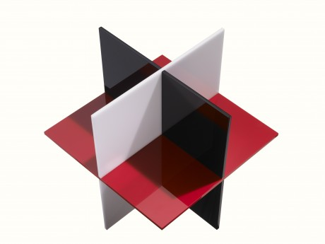 Construction No. 204 (AP) (1972).  Red-white-black opaque Plexiglas, 12 x 12 x 12 in. (30.5 x 30.5 x 30.5 cm), (c) The Lamis Collection. Photography: Jock Pottle, 2011