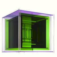 Construction No. 55 (1964), Clear, purple, green Plexiglas, 8 1/4 x 8 1/2 x 8 1/2 in. (21 x 21.6 x .21.6 cm), (c) The Lamis Collection,  Photography: Jock Pottle, 2011