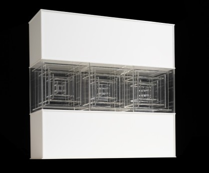 Construction No. 156 (1968), clear & white Plexiglas, 18 x 18 1/2 x 6 in. Construction no. 111 (1966), amber, clear, & white Plexiglas, 25 1/4 x 12 3/4 x 7 1/2 in. (c) The Lamis Collection, Photography: Jock Pottle, 2011